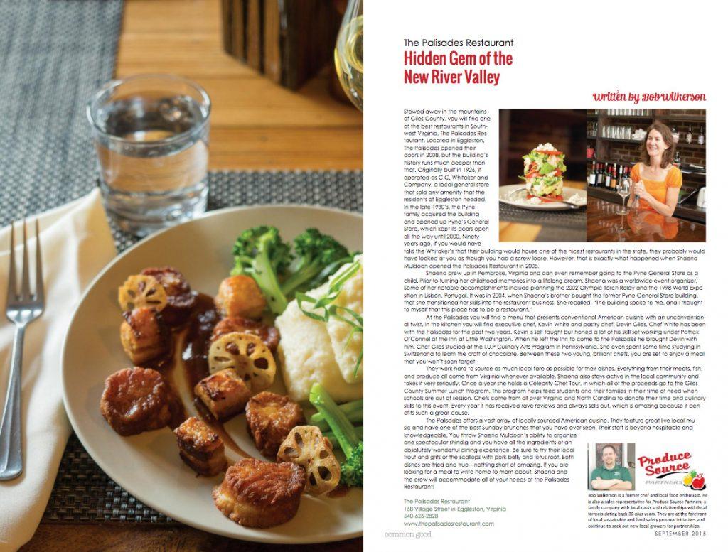 The Palisades Restaurant: Hidden Gem of the New River Valley: Bella Magazine - Sept. 2015